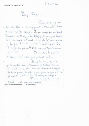 Lettre Thierry de Béthune © Maison Autrique, 1991