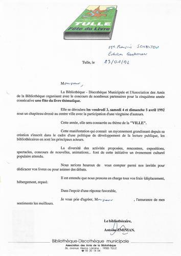 Lettre Antoine Eminian© Maison Autrique, 1992
