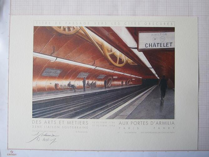 Titre de passage vers les Cités Obscures. Des Arts et Métiers aux Portes d'Armilia© François Schuiten / Benoît Peeters , 1994