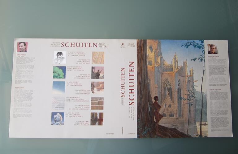 """Jaquette trilingue pour le livre """"The Book of Schuiten""""© François Schuiten / Benoît Peeters , 2004"""