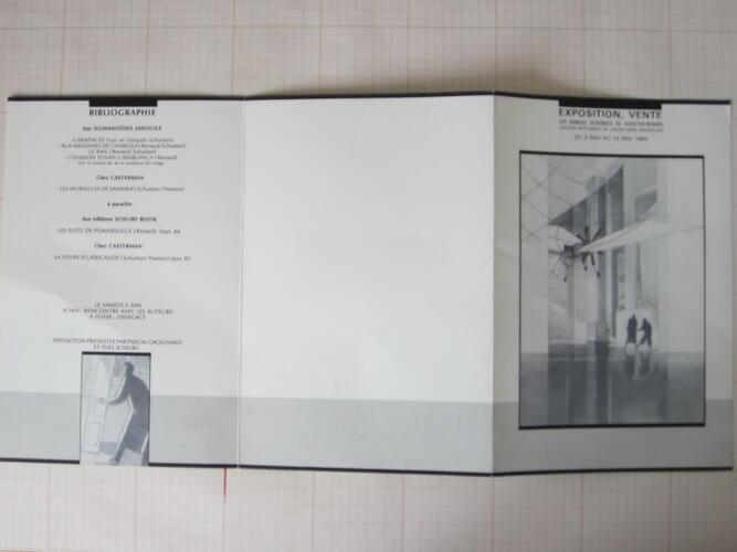 """Exposition, vente """"Les bandes dessinées de Schuiten-Renard""""© Thierry Smolderen, 1984"""