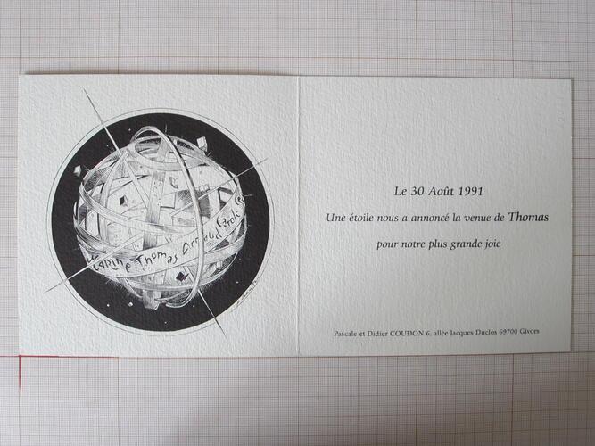 (Sans titre) Faire-part de naissance de Thomas© François Schuiten, 1991