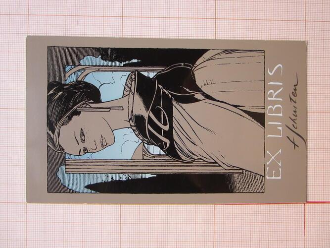 """Ex-Libris """"Nelle en buste. Héroïne des Terres Creuses""""© François Schuiten , 1985"""