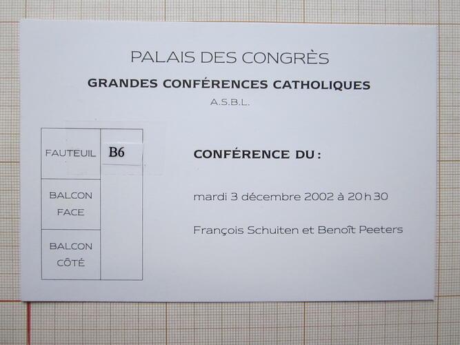 Carton d'invitation - Grandes conférences catholiques asbl© Grandes conférences catholiques asbl, 2002