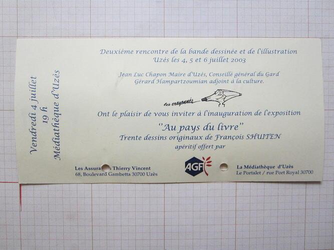 """Invitation exposition """"Au Pays du livre""""© François Schuiten / Médiathèque d'Uzès, 2003"""