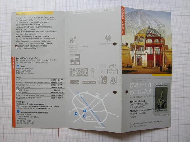 """Dépliant """"Architectures rêvées, de Eugène Robick à Victor Horta""""© François Schuiten / Ville de Tournai / Urbicande asbl / Tourisme et Culture asbl, 1996"""