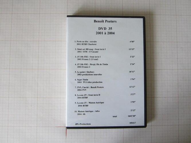 Benoît Peeters DVD 35+... 2001 à 2004 - JPL Productions© Maison Autrique, 2004
