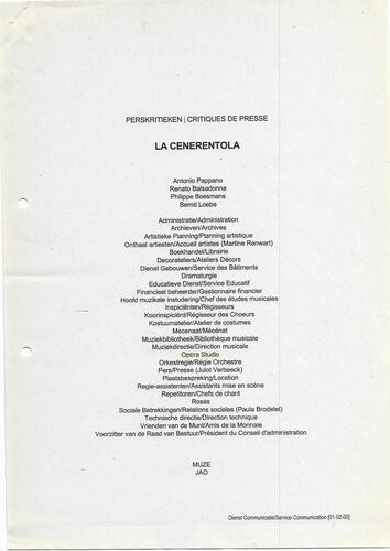 Revue de presse - La Cenerentola© François Schuiten, 2000