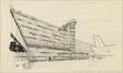 Dessin d'avant-projet pour la façade et la tour de contrôle de l'aérogare de Zaventem<br>Brunfaut, Maxime / Bontinck, Geo / Moutschen, Joseph