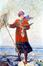 Femme peintre à la mer