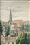 L'église Saint-Servais entourée de maisons<br>Thelen, Eugène
