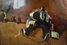 Huile sur toile par Arno Stern, Juif pieux assis pendant le deuil, Shiv'ah<br>