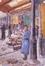 Marché couvert avec femme en robe bleue<br>Dutillieu, Jef