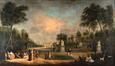 Le parc de Bruxelles avec le palais du Conseil du Brabant et le Palais de Schoonenberg<br>Simons, A. A.