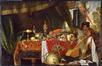 De maaltijd in gevaar. Stilleven met zwarte bediende en papegaai<br>De Heem, Jan Davidsz.