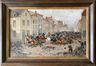 Déroute de la cavalerie hollandaise dans la rue de Flandre en 1830. Esquisse<br>Van Severdonck, Joseph