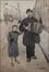 Joueur d'accordéon accompagné d'une enfant dans la rue de Brabant<br>Vos, Hubert
