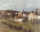 L'église et le village<br>Lebon, Charles