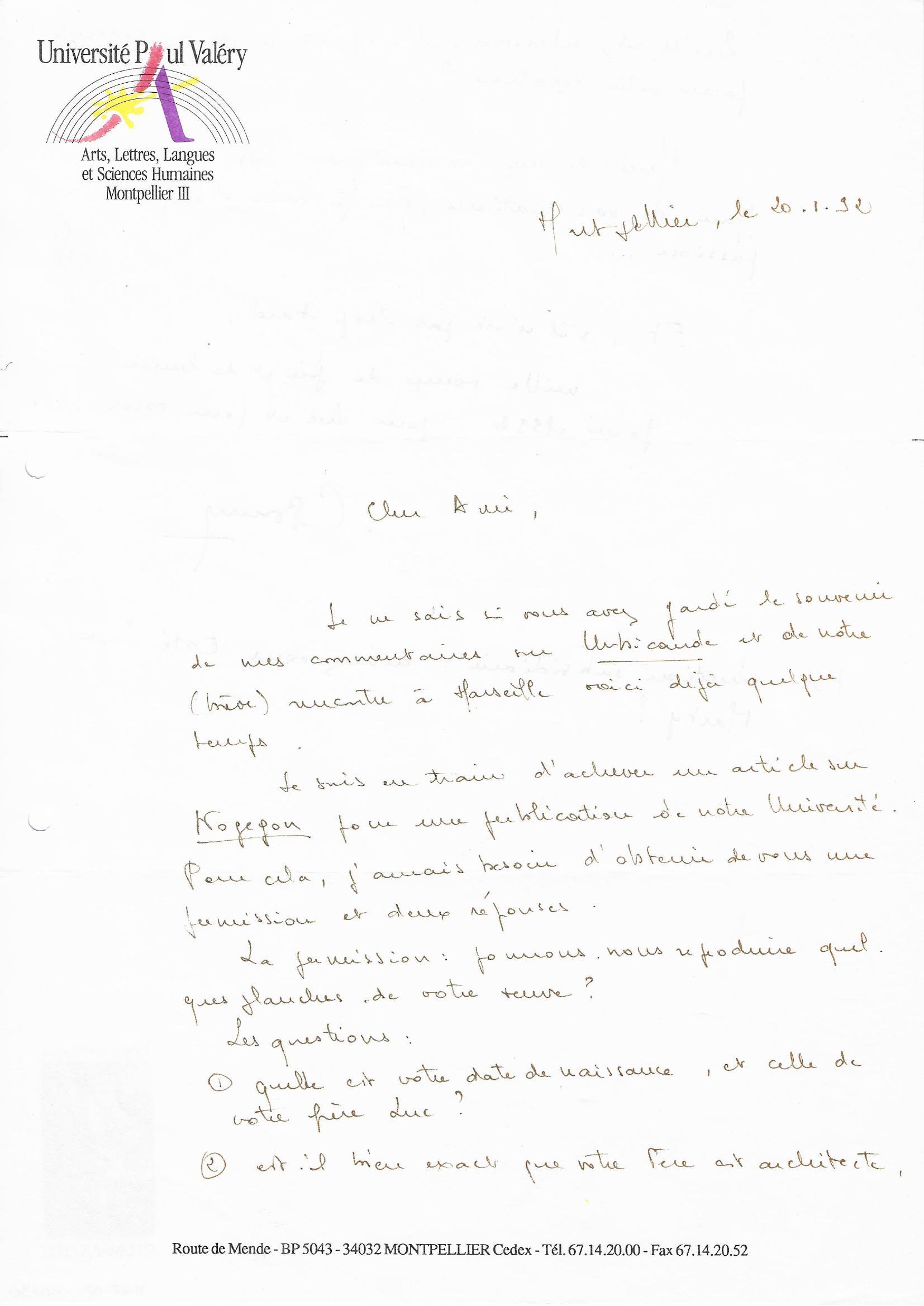 Lettre Université Paul Valéry© Maison Autrique, 1992