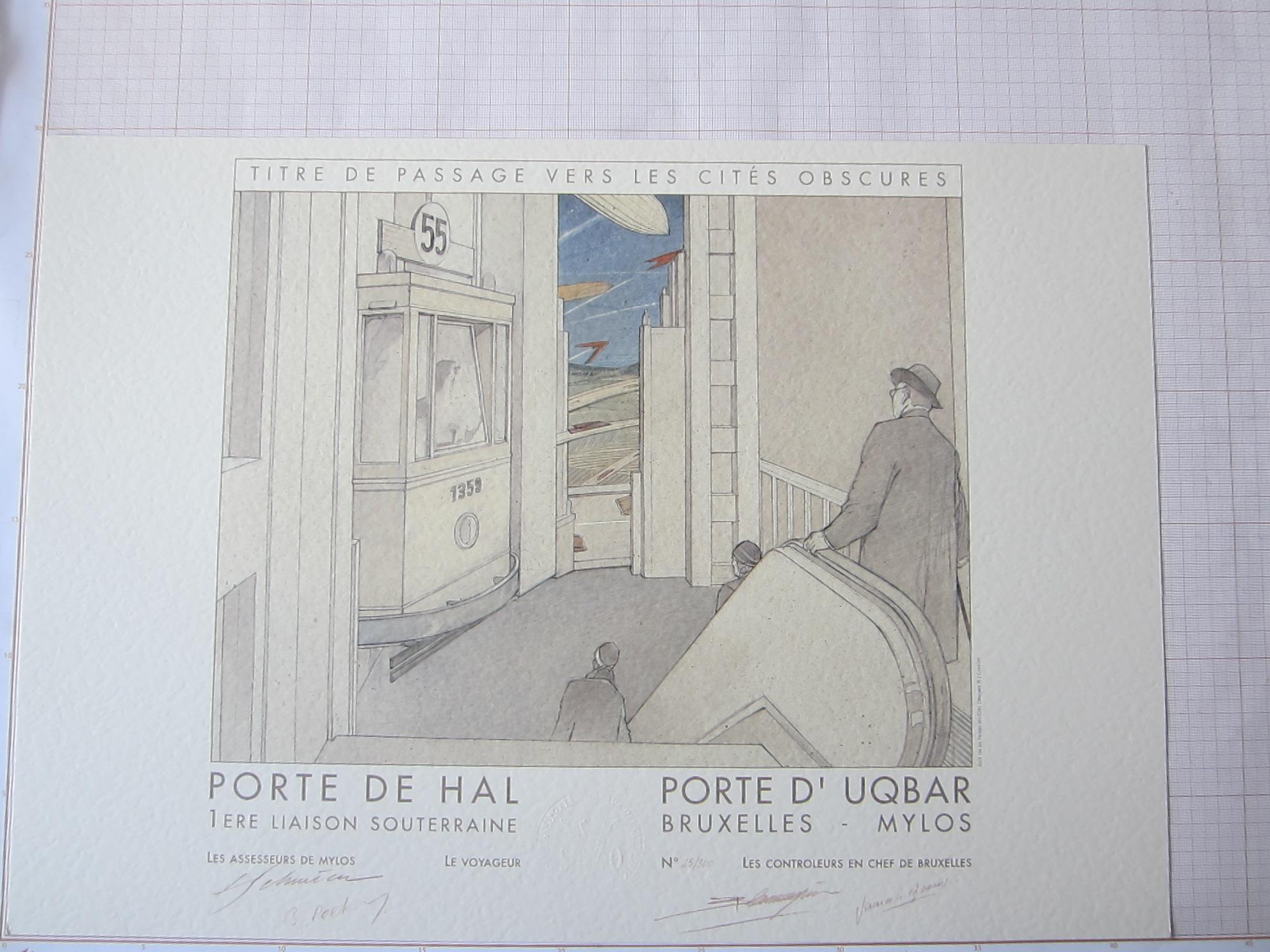Titre de passage vers les Cités Obscures. Porte de Hal - Porte d'Uqbar© François Schuiten / Benoît Peeters , 1993