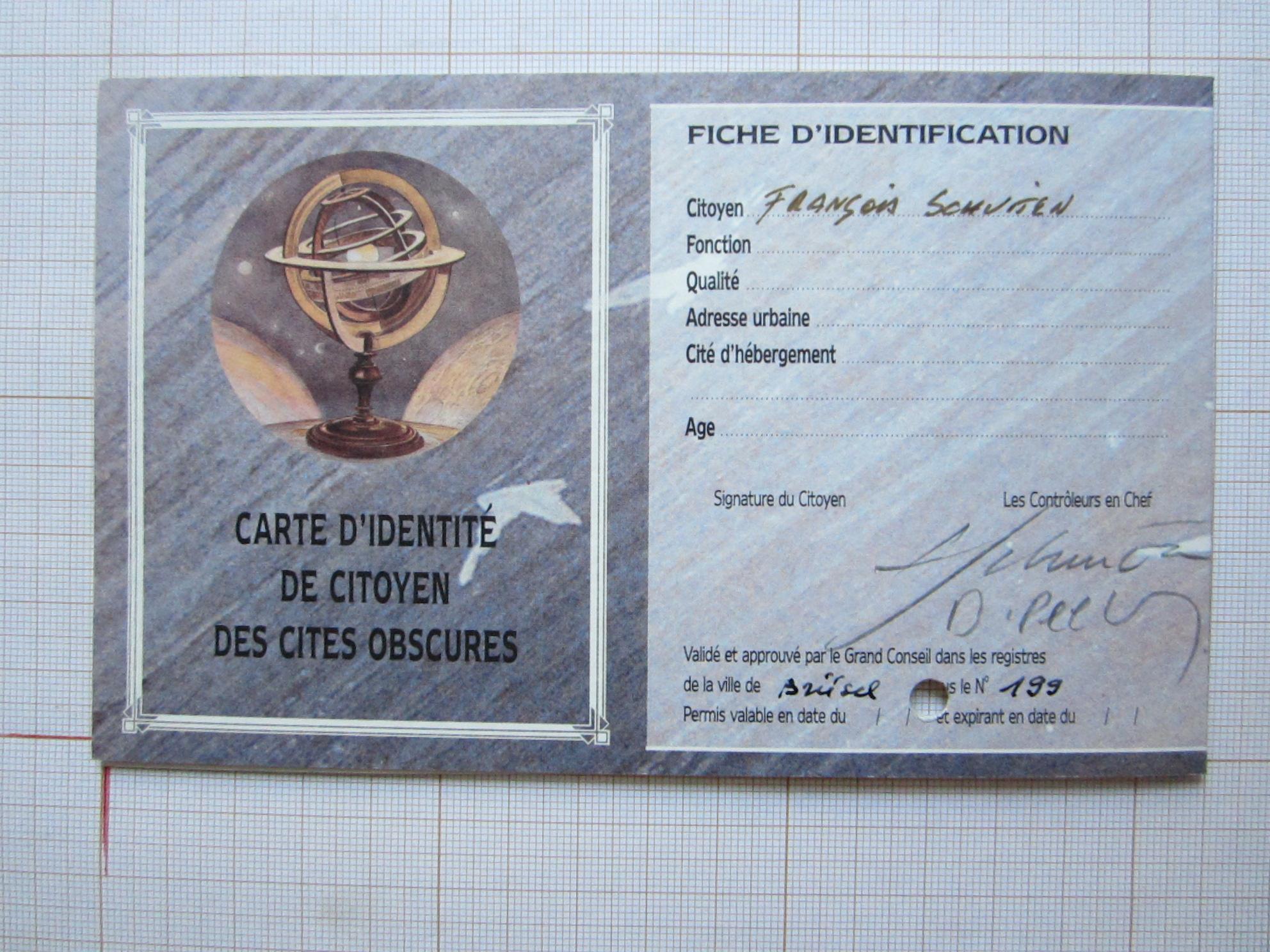Carte d'identité de citoyen des Cités Obscures© François Schuiten / Benoît Peeters
