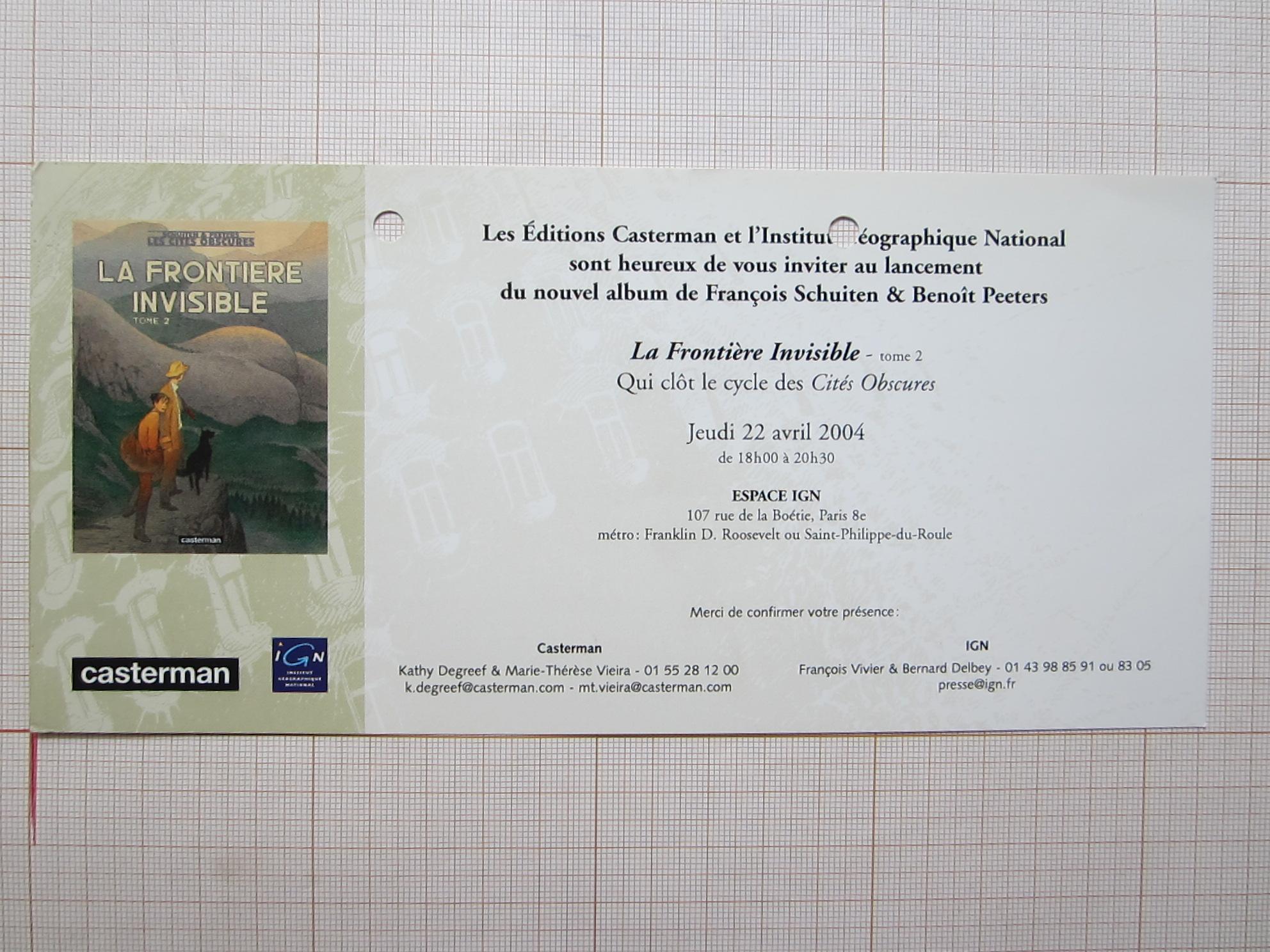 """Invitation lancement """"La Frontière Invisible - Tome 2""""© François Schuiten / Casterman / Institut Géographique National, 2004"""