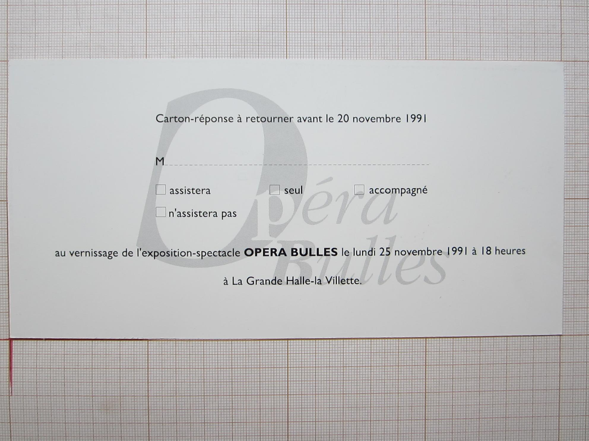 Coupon-réponse Opéra Bulles© La Villette, 1991